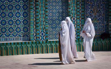 Mazar-e Sharif, Afghanistan, May 2004: Women in burqas at the Blue Mosque in Mazar-e Sharif