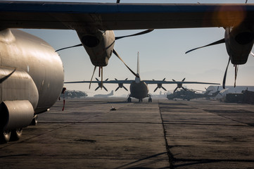 Military aircraft fill Kabul Aiport, Afghanistan