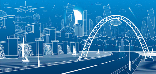 City infrastructure industrial and energy illustration. Hydro power plant. River Dam. Automobile road. Illuminated highway. White lines on blue background. Vector design art