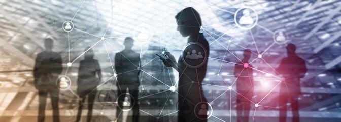 Fototapeta Double exposure people network structure. HR - Human resources management and recruitment concept. obraz
