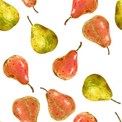Hand drawn watercolor seamless pattern of pears isolated on white background.