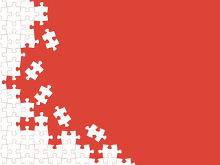 Red puzzle pieces. Vector background with place for your text