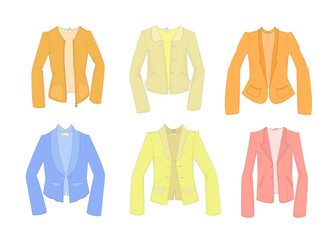 Set of cute modern  jackets. Easy to colorize.Isolated on white background. Vector illustration.