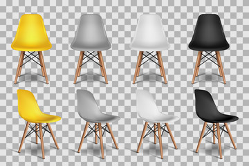 Vector realistic 3d illustration of chairs, isolated on transparent background. Loft interior isometric objects. Fototapete