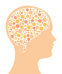 Many colored dots in a brain shape and in the silhouette of a head. Dotted pattern. A symbol for ideas, thinking, imagination and creativity. Isolated illustration on white background. Vector.