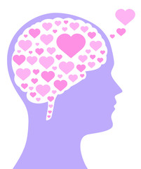 Pink colored hearts in a brain shape and in the purple silhouette of a head. A symbol for falling or being in love, liking, emotions and affection. Isolated illustration on white background. Vector.