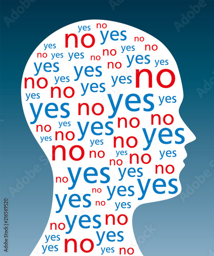 The Words Yes And No Written In A Silhouette Of A Head A Symbol For