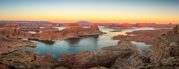 Panoramic sunset landscape at Lake Powell, Utah, USA.
