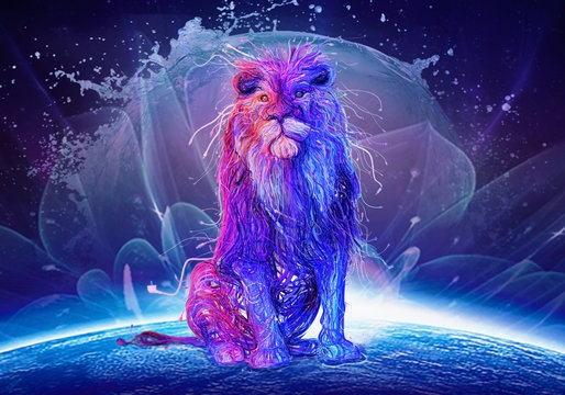 Abstract Multicolored Lion Sitting On Top Of A Colorful Globe