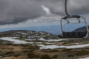 Cable car in Serra da Estrela, Portugal. In the winter.