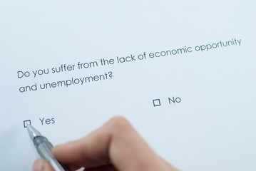Survey question: Do you suffer from the lack of economic opportunity and unemployment? Answer: Yes.