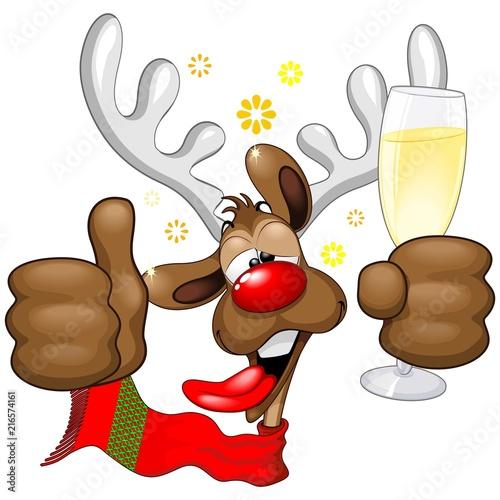 Christmas Humor Clip Art.Reindeer Drunk Funny Christmas Character Stock Image And