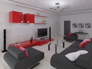 Modern living room in hi-tech style with fashionable functional furniture and a light background.