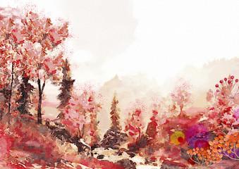 Watercolor autumn landscape.