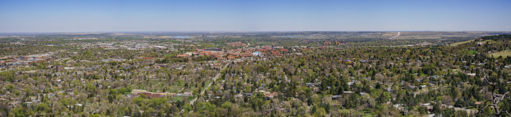 Aerial view of boulder cityscape