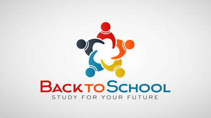 Back to school People Group. Vector Logo