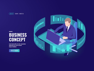 Office work, man sitting at the table, working on laptop, data processing, bank employee, analyst, statistician information chart, infographics, data visualization isometric vector illustration