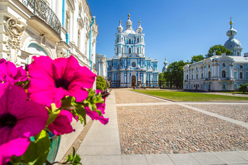 Saint Petersburg. Smolny Cathedral. Architecture of Petersburg. Morning in St. Petersburg. Cities of Russia. Museums in St. Petersburg. Panorama of the Smolny Cathedral.
