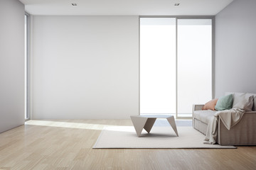 Wall Mural - Wooden floor with empty gray concrete wall background in living room at modern new house, Glass window and door of white office or natural light studio - Home interior 3d illustration