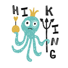 Hand drawn octopus kids poster. Cartoon childish illustration