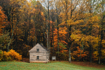 Cabin and autumn color at Peaks of Otter, on the Blue Ridge Parkway in Virginia.
