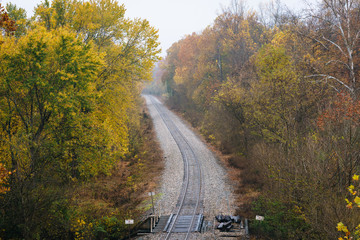 Fall color along a railroad track, from the Blue Ridge Parkway in Virginia