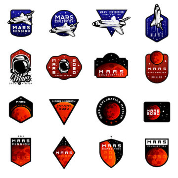 Bundle of mars expedition logos concept with space shuttle