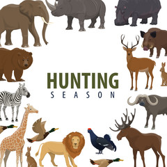 Hunting season poster of wild animal and bird
