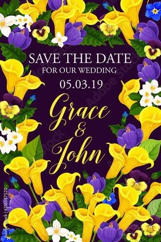 Wedding or engagement invitation floral banner