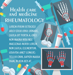Rheumatology poster with bone and joint x-ray