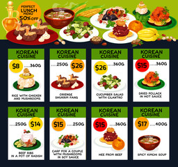 Korean cuisine restaurant lunch menu card design