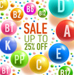 Vitamin sale offer banner with colorful pill swirl