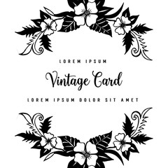 Vintage Greeting Card with Blooming Flowers Vector Illustration