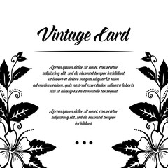 Vintage card with floral design hand draw vector illustration