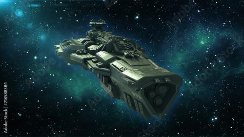 """""""Alien Spaceship In Deep Space, Spacecraft Flying In The"""