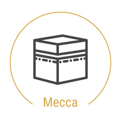 Mecca or Makkah, Saudi Arabia Vector Line Icon