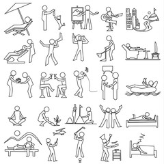 outline relaxation icon set, simple vector draw