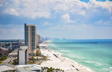 Drone Aerial Beach View of Panama City Beach, Florida, USA