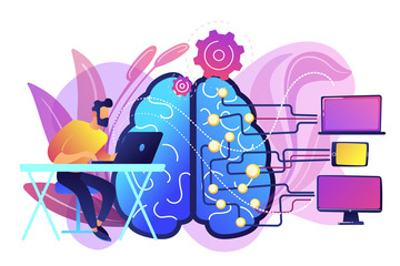 Brain with digital circuit and programmer with laptop. Machine learning, artificial intelligence, digital brain and artificial thinking process concept, violet palette. Vector isolated illustration.