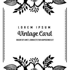 Hand draw floral template vintage card vector illustration