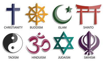world religion symbol icon set