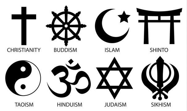 world religion symbol icon set