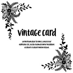 Vintage greeting card with floral hand draw vector illustration