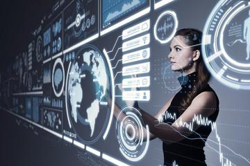 Young woman looking virtual screen.