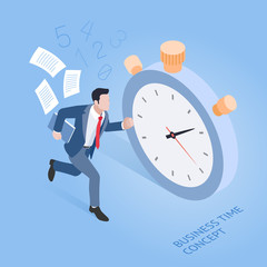 Business time concepts. Businessman running with stopwatch. Isometric vector illustration.