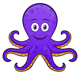 Vector octopus cartoon purple design
