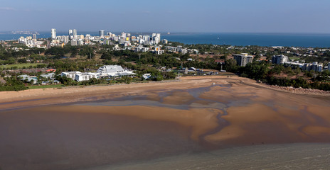 An aerial photo of Darwin, the capital city of the Northern Territory of Australia from Mindil Beach showing casino
