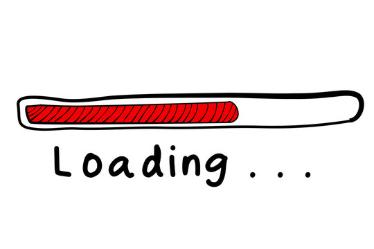 loading progress bar sign, simple vector hand draw sketch