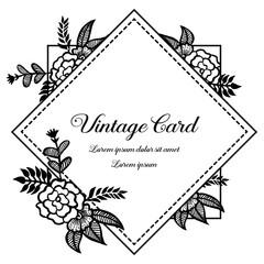 floral frame style for vintage card vector illustration