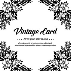 Vintage card with floral hand draw design vector illustration
